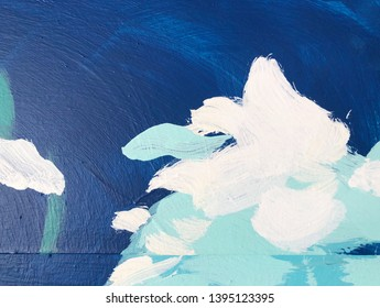 Abstract colorful oil painting on artificial wood background.