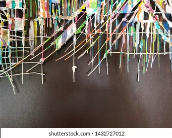 Abstract colorful Painted on wire on gray background