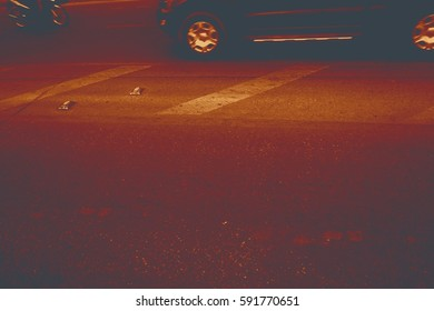 abstract colorful photo of road surface with car wheel idea as for background - selected tone color