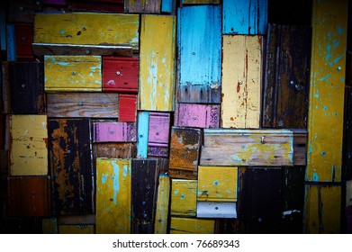 Abstract colorful rough wooden panels