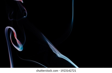 Abstract colorful smoke on a black background. Isolated. Overlay layer