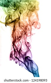 Abstract colorful smoke on white background