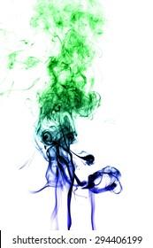 Abstract colorful smoke on white background, smoke background,colorful ink background,Blue and Green smoke, beautiful smoke