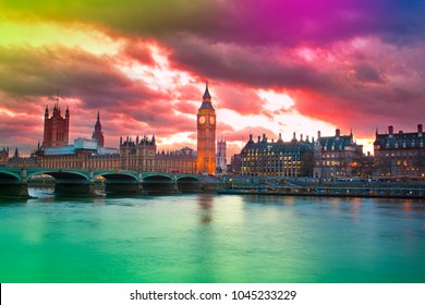 abstract colorful sunset in London city skyline