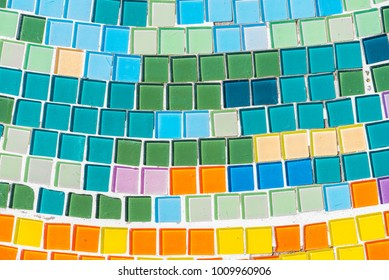 abstract colorful tiles mosaic wall for background