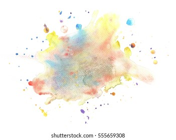 Abstract colorful watercolor texture on white background. Color splashing on the paper.