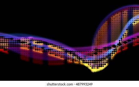 abstract colorful wavy smoke flame over black background