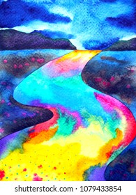 abstract colorful way road fantasy street watercolor painting illustration design hand drawn