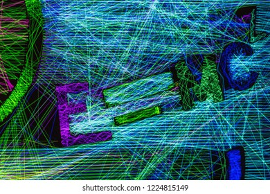 Abstract colorfull futuristic background texture, colorfull laser lights, abstract rainbow lines with text e=mc2, einstein