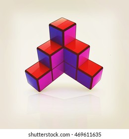 Abstract colorfull geometric background. 3D illustration. Vintage style.