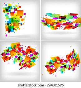Abstract colour backgrounds set on white - raster illustration