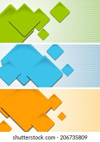 Abstract colourful banners with square elements