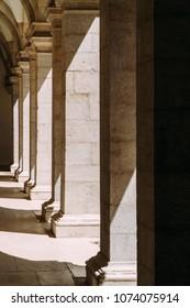 Abstract Columns Corridor Architecture In Lisbon, Portugal