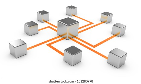 Abstract communications on a white background, conception of network, communication 3d