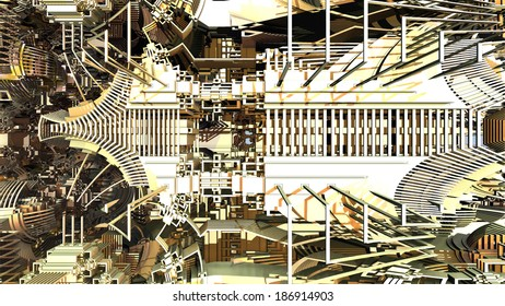 Abstract complex three-dimensional fractal like a strange alien construction