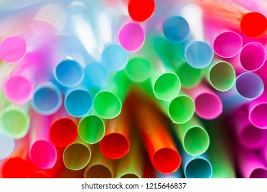 Abstract composition of colorful plastic straws seen  from above