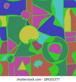 Abstract composition of geometric shapes , triangles, stars,ellipses. Handmade.