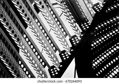 Abstract composition. Metal construction detail.