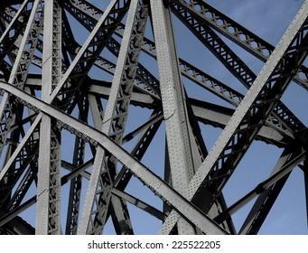 Abstract composition with steel structure components.Concept of human engineering.
