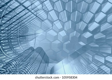 Abstract computer background in blues with buildings, cells and digits.