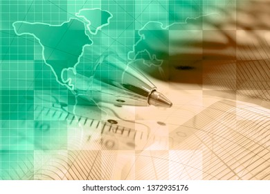 Abstract computer background with buildings, pen and map.