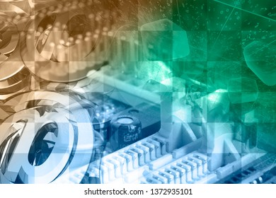 Abstract computer background with electronic device and mail signs.