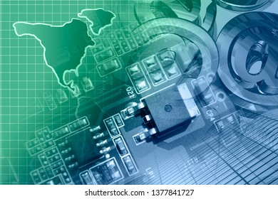 Abstract computer background with electronic device and map.