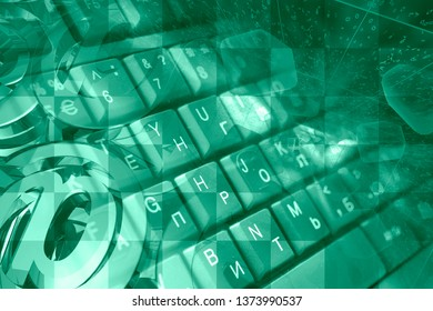 Abstract computer background with keyboard, digits and mail signs.