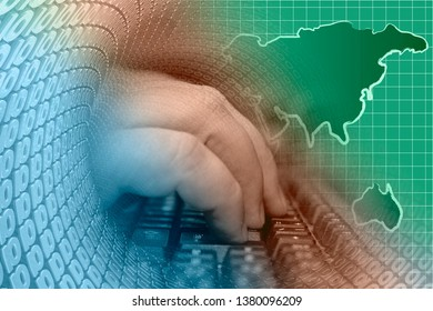 Abstract computer background with keyboard, hands and map.