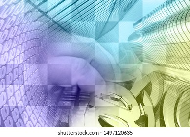 Abstract computer background with keyboard, hands and buildings.