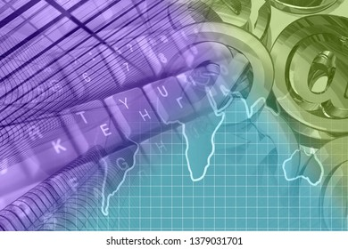 Abstract computer background with keyboard, mail signs and map.