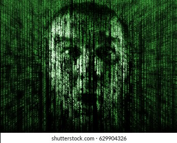 Abstract computer generated background of matrix style with male suprise face