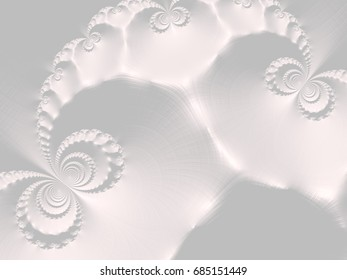 An abstract computer generated fractal design. White fractal, resembles gypsum.