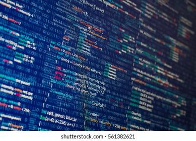 Abstract computer program code inside illustration. Blue background