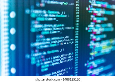 Abstract computer script about big data and blockchain database. HTML5 concept macro backdrop in warm colors. Shallow depth of field, selective focus effect. Blurred screen with selective focus