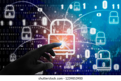 Abstract concept, fingers are touching padlock symbol, With protection of digital identity theft and privacy, Online database and cyber security.