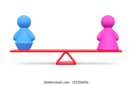 Abstract concept of gender equality on white background.