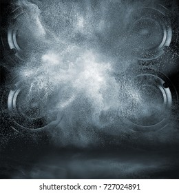 Abstract concept of powerful audio loud speakers blast out a cloud of powder particles against dark background