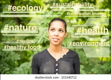 Abstract concept of a young woman with a sustainable mindset.