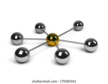 Abstract conception of network and communication. 3d image. White background.