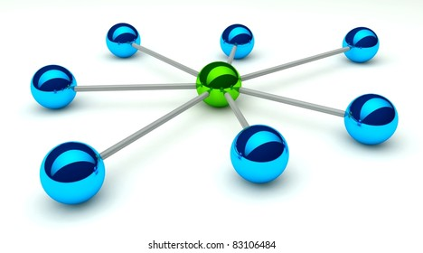 Abstract conception of network and communication, communication 3d