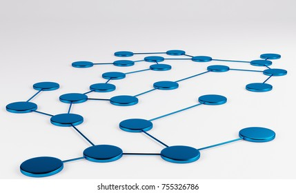 Abstract conception of network and communication. Blue isolated on white. 3d rendering