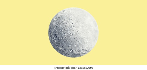 Abstract conceptual image of full moon over yellow background. Elements of this image furnished by NASA