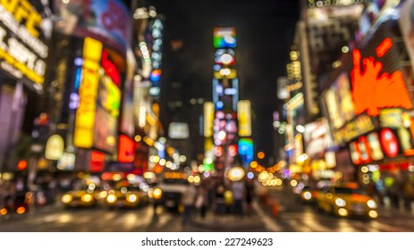 Abstract and conceptual view of New York city in the USA showcasing The lights of Times Square at night.