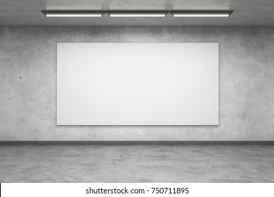 Abstract concrete interior with empty billboard wall. Gallery concept. Mock up, 3D Rendering
