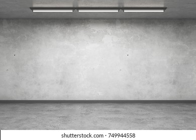 Abstract concrete interior with empty wall. Gallery concept. Mock up, 3D Rendering