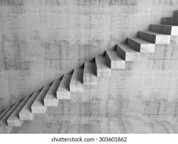 Abstract concrete interior fragment, cantilevered stairs on the wall, digital 3d illustration