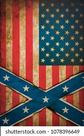 Abstract confederate and American flag concept grunge background
