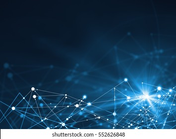 Abstract connected dots on bright blue background. Technology concept