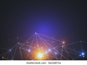 Abstract connected dots on bright background. Technology concept